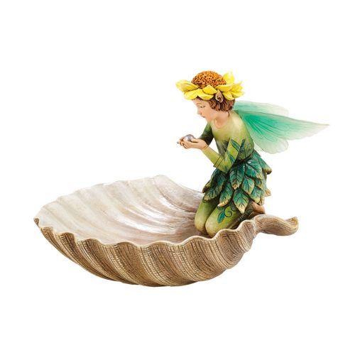Enchanted Guardians Fairy Seashell Butterfly Birdbath
